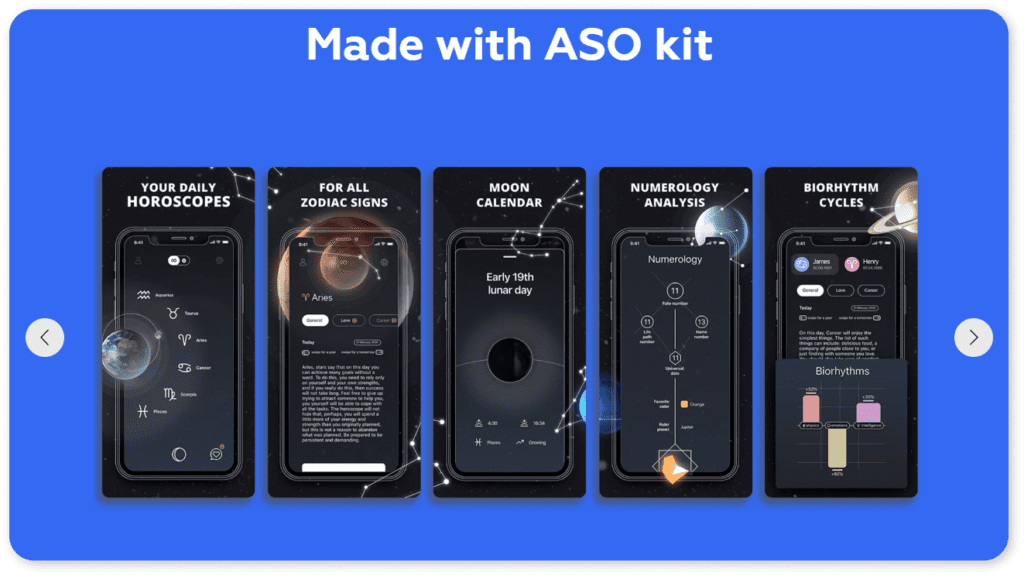 ASO kit with templates for graphic ASO.