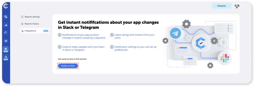 ASO tool: Notification Centre with integrations