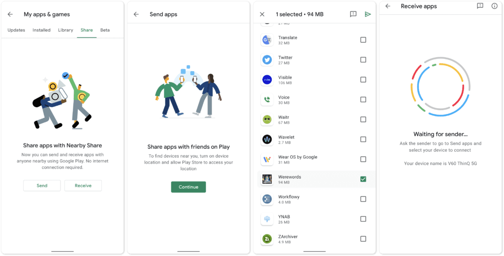 new sharing feature google play